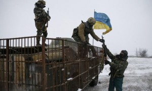 Ukrainian armed forces take their position near Debaltseve