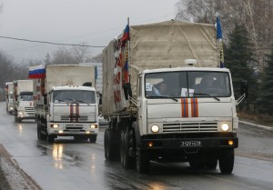 Russian convoy of trucks carrying humanitarian aid for Ukraine are seen in Makiivka in Donetsk region