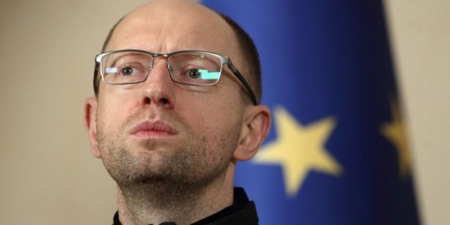 Arsenii Yatseniuk during a news briefing at the Trade Union House in Kyiv.