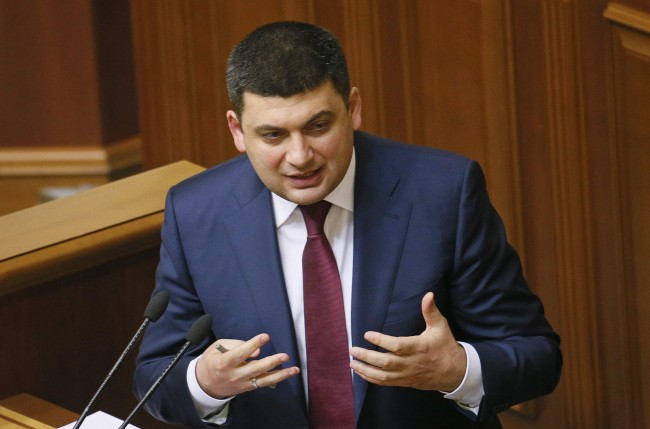 Ukraine's former Deputy Prime Minister Volodymyr Groysman speaks during a session of the parliament in Kiev, November 27, 2014. The Ukrainian parliament on Thursday elected Groysman to the powerful post of speaker. Under Ukrainian law, the speaker is the first to stand in for the president if the head of state is unable to fulfil his duties. REUTERS/Gleb Garanich (UKRAINE - Tags: POLITICS)