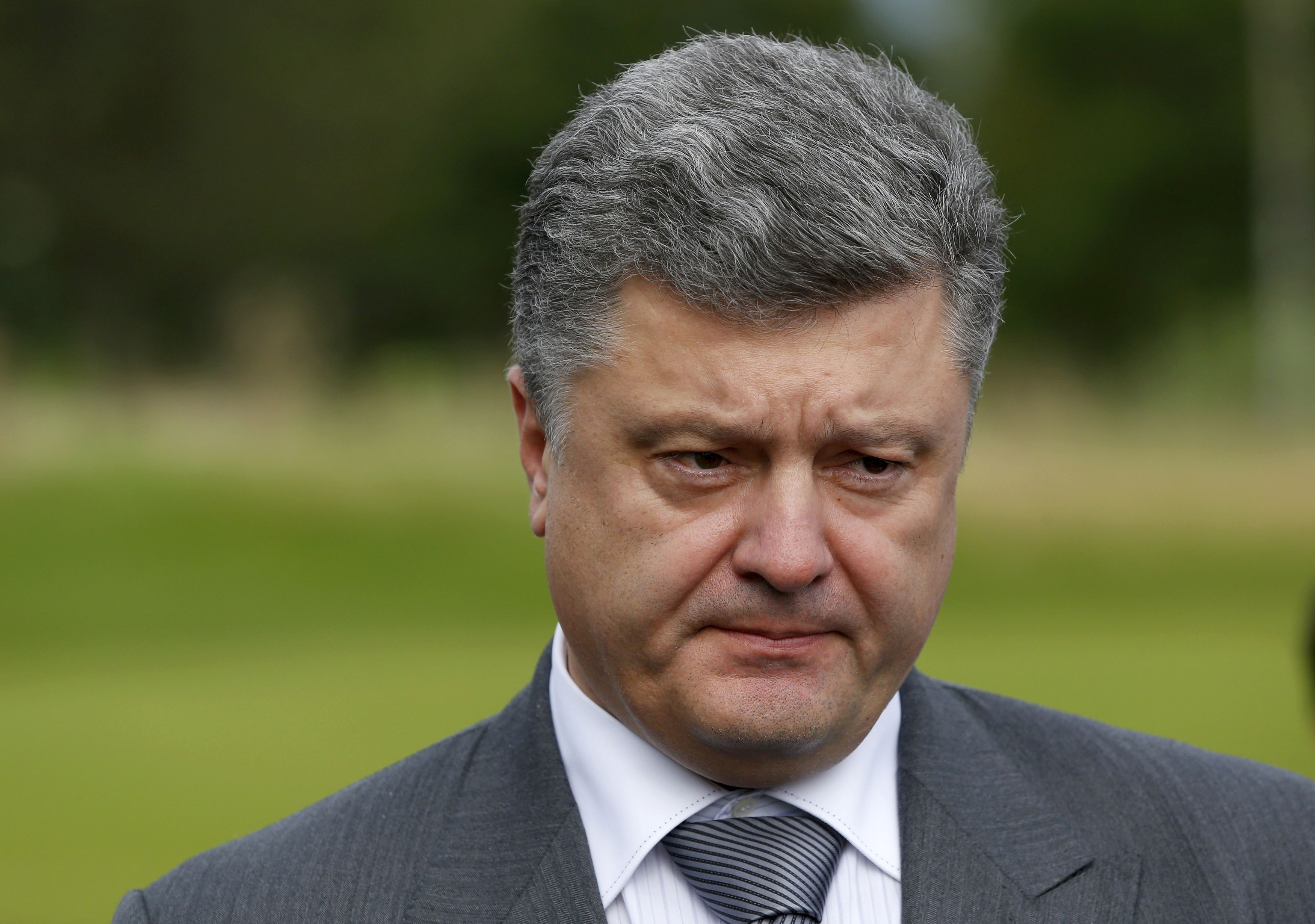 Ukraine's President Petro Poroshenko speaks to the media on the second and final day of the NATO summit at the Celtic Manor resort, near Newport